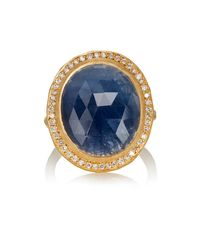 Malcolm Betts - Oval Blue Sapphire & Yellow Gold Ring - Lyst