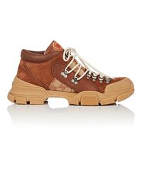 Gucci Brown Flashtrek Suede Trainers for men