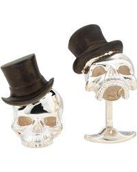 Deakin & Francis Metallic Skull & Top Hat Cufflinks for men