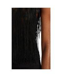 Alberta Ferretti Black Fringed Floral Lace V-neck Tank Top