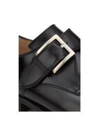 Harris Black Plain-toe Monk-strap Shoes for men