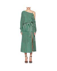 Robert Rodriguez - Green Striped Silk Cold-shoulder Midi - Lyst