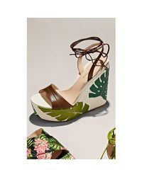 Gianvito Rossi Green Grenada Leather & Canvas Wedge Sandals