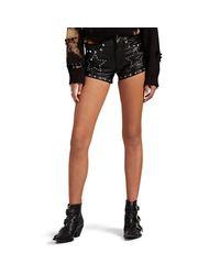R13 Black Embellished Leather Shorts