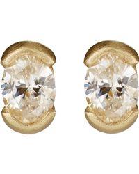 Tate - Metallic Oval Stud Earrings - Lyst