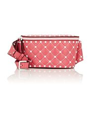 Valentino Pink Rockstud Spike Small Leather Belt Bag