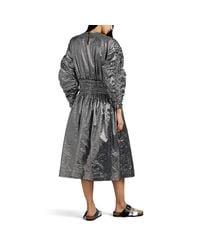 Noir Kei Ninomiya Black Metallic-gingham Midi-dress