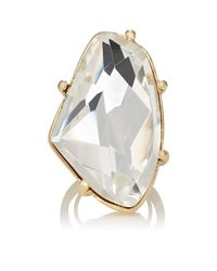 Kenneth Jay Lane - White Crystal Cocktail Ring - Lyst