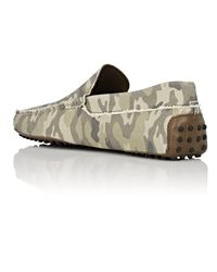 Tod's Green Camouflage Canvas Drivers for men