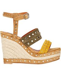 Lanvin Brown Studded Suede Wedge Sandals In Yellow