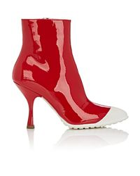 Miu Miu Red Patent Leather Ankle Boots
