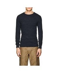 RRL - Blue Rib-knit Cotton Long-sleeve T for Men - Lyst