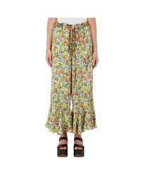 By. Bonnie Young - Green Floral Silk Ruffle Pants - Lyst