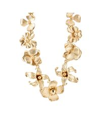 Kenneth Jay Lane - Metallic Floral Necklace - Lyst