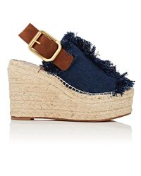 Chloé - Blue Fringed Denim Wedge Espadrille Sandals - Lyst