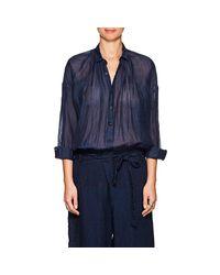 Pas De Calais - Blue Linen-blend Oversized Blouse - Lyst