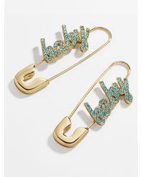 BaubleBar Blue X Montserrat Safety Pin Earrings