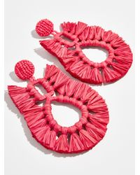 BaubleBar Red Celia Raffia Drop Earrings