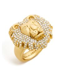 BaubleBar - Multicolor Crystal Lion Head Ring - Lyst