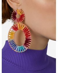 BaubleBar Pink Kiera Raffia Statement Earrings