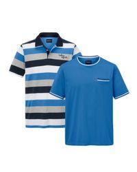 Babista Doppelpack T-Shirt und Poloshirt aus reiner Baumwolle in Blue für Herren