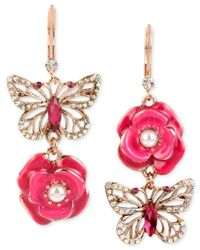 Betsey Johnson | Metallic Gold-tone Butterfly And Flower Double Drop Mismatch Earrings | Lyst