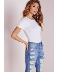 Missguided - Roll Sleeve Basic Bodysuit White - Lyst