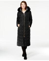 Calvin Klein | Black Faux-fur-trim Hooded Down Maxi Coat | Lyst