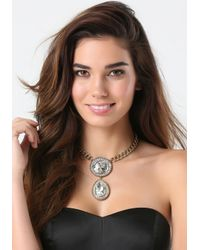 Bebe - Metallic Stone & Teardrop Necklace - Lyst