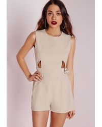 Missguided   Natural Cut Out Buckle Detail Playsuit Stone   Lyst