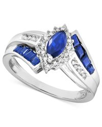 Macy's | Blue Gemstone (1-1/5 Ct. T.w.) And Diamond Accent Ring In Sterling Silver | Lyst