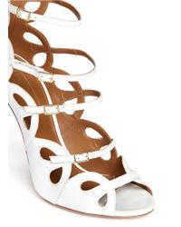 Aquazzura - White 'J'Adore' Scalloped Leather Strappy Sandals - Lyst