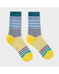 Paul Smith - Blue Women's Navy And Yellow 'mainline Stripe' Socks - Lyst