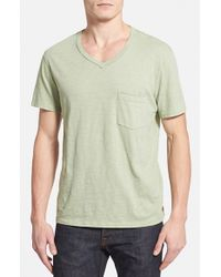 7 For All Mankind | Green Raw Edge V-Neck T-Shirt for Men | Lyst