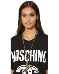 Moschino Black Lighter Necklace - Gold