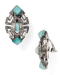 Alexis Bittar Metallic Baguette Clip-on Earrings