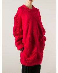Henrik Vibskov Red 'knit Rider' Oversized Sweater