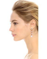 Oscar de la Renta Metallic Semi Precious Crystal Drop Earrings