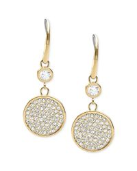 Michael Kors - White Goldtone Pave Disc Drop Earrings - Lyst