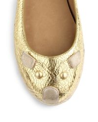 Marc By Marc Jacobs | Mouse Crackled Metallic Leather Ballet Flats | Lyst