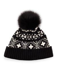 Sofia Cashmere Black Fair Isle Hat W/fox Fur Pom-pom