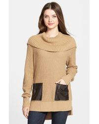 MICHAEL Michael Kors Brown Faux Leather Pocket Cowl Neck Sweater