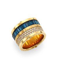 Michael Kors Blue Brilliance Statement Montana Baguette & PavÉ Barrel Ring
