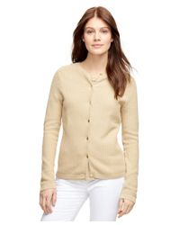 Brooks Brothers | Natural Textured Cotton Cardigan | Lyst