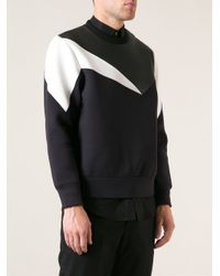 Neil Barrett - Blue Leather Panel Sweatshirt for Men - Lyst