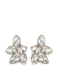 Kenneth Jay Lane | Metallic Teardrop Crystal Cluster Stud Earrings | Lyst