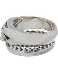 Undercover Metallic Silver Top Half Skull Twinned Rings for men