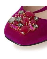 Dune - Purple Humphries Jewelled Square Toe Flat Shoes - Lyst