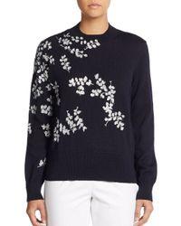 Dries Van Noten - Blue Wool Painted-flower Sweater - Lyst