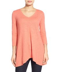 Eileen Fisher - Pink Hemp & Organic Cotton V-neck Tunic - Lyst